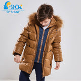 Winter Children Outwe Hooded Luxury Brand Boys Jacket With Fur Hood Warm Jacket For 4-9 Age Russian Style Coats 85013