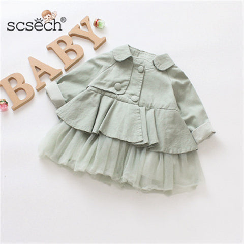 Scsech New Autumn Baby Girls Jacket Cotton Windbreaker Outwear Newborn Jacket Toddler Kids Lace Coat Children Clothing S8735