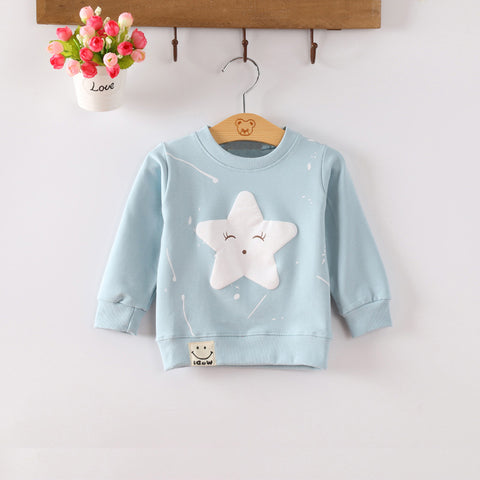 Baby Sweatshirt Cotton Long Sleeves Baby Boy Clothes Cute Star Pattern Baby Girls Sweatshirts O-Neck Newborn Hoodies