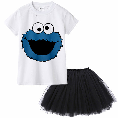 Sesame Street Elmo Cookie Monster Kids Girl Clothing Set Children Summer T Shirt + Tutu Skirt Dress Suit Baby Clothes Toddler
