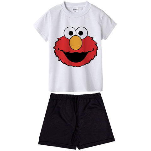 Sesame Street Kids Clothing Set Cartoon Elmo Costume Baby Summer Outfit Suit T-shirt + Pants 2 Piece Baby Clothes Children Wear