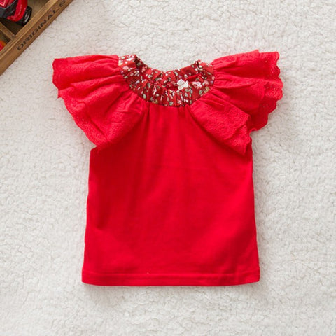 Short Sleeve T-shirt Girl Floral Collar Baby T-shirts Baby Girls Tops Blouse Cute Tee Shirt 0-2Years