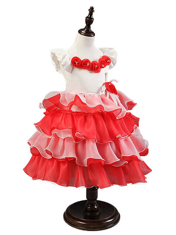 Small Cute Flower Ball Gown Sweet Candy Dresses Kids Fashion Party Dresses Children Bow Knot Canonicals Baby Girls Dress Clothes