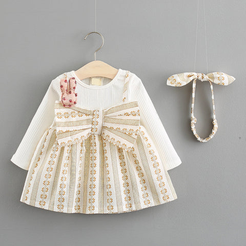 Small kids dresses for girls clothes autumn big bow design long sleeve pleated dress toddler baby clothing children costumes