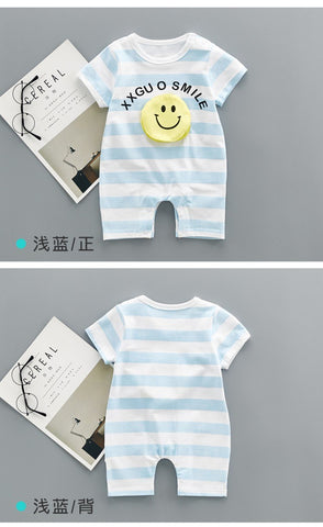 Smiley face pocket baby rompers Newborn Infant Baby Boy Girl Summer clothes Cute Cartoon Romper Jumpsuit Climbing Clothes