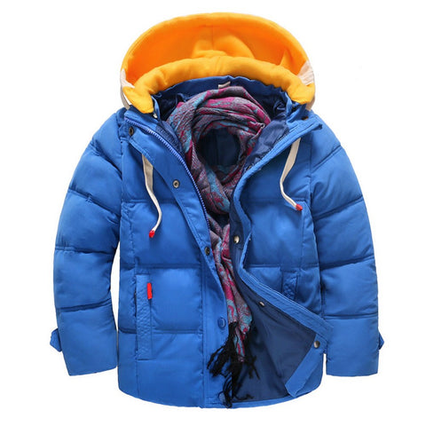 Snowsuit Children White Down Jacket Parkas Winter Cheap Kids Outerwe Casual Warm Hooded Jacket For Boys Solid Warm Coats