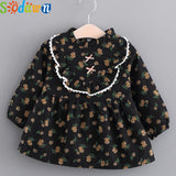 Sodawn Autumn New Fashion Sweet Floral Dolls Small Fresh Dress Children's Clothing Baby Girls Clothes Baby Dress