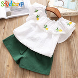 Sodawn New Children We 2018 Summer Girl Lotus Leaf Pineapple Embroidered T-Shirt + Shorts 2pcs Girl Clothes Set Kids Clothing