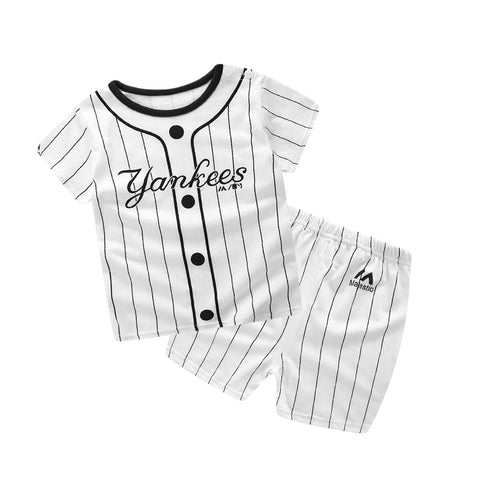 Baby Boy Clothes Summer New Aircraft Baby Boy Girl Clothing Set Cotton Baby Clothes Suits Short Plaid Infant Kids Clothes