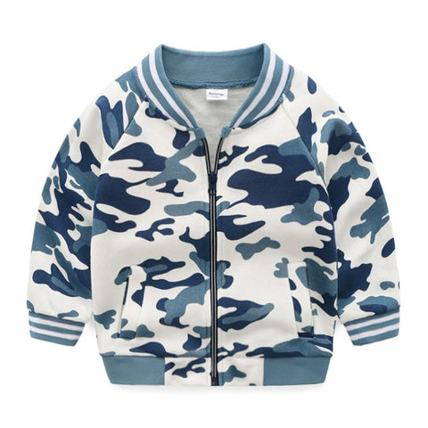 Songge Children's Jackets Fashion Casual Camouflage Blue Green Jacket For Boys Spring Autumn Zipper Outerwe Children Clothes