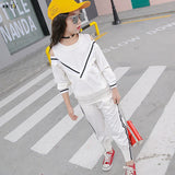 Sport Suit Teenage Autumn Girls Clothing Set Long Sleeve Top & Pants Casual 4 5 6 7 8 9 10 11 12 Years Child Girl Clothes