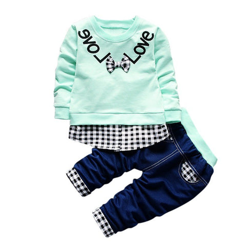 Sports Suit Boy Girl Autumn Childrens Sweatshirts Clothing Set Toddler Sportswear Long-sleeved T-shirt Trousers Suit