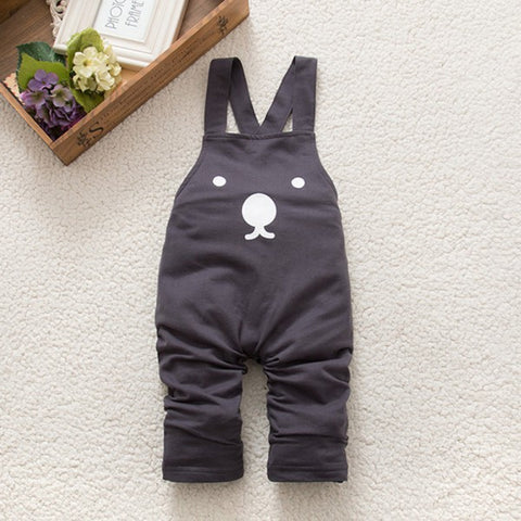Spring Autumn Baby Boy Girls Bib Pants Overalls Bear Print Harem Pants Long Trousers