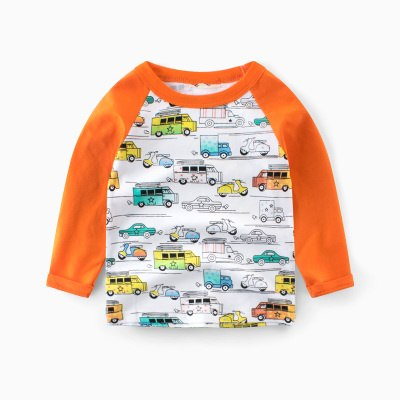 Spring Autumn Boys Girls Long Sleeve T-shirt Cotton Children Clothing Casual Sweatshirt Colorful Cars Kids Tops Boys Tee Shirts