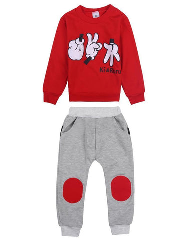 Spring Autumn Children Clothing Set 2017 New Casual Kids Sport We Finger Games Pattern 2 3 4 5 6 7 Ye Boys Girls Tracksuits