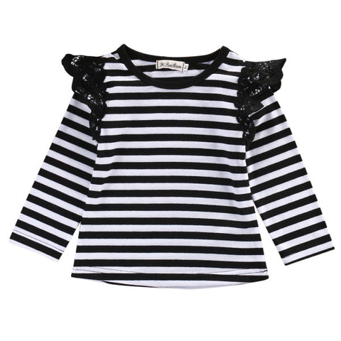 Spring Autumn Children T shirt 2018 Brand baby girls fly long sleeve lace t-shirts tops o-neck princess infant clothing t shirt