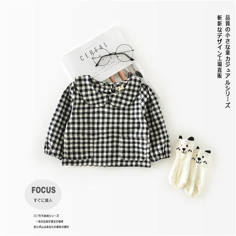 Spring Autumn Cotton Shirt 0-2 Years Old Baby Jacket Girls Plaid Shirt Leaf Collar Children Girls Blouse School Blouses Vestidos