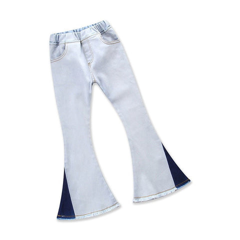 Spring Autumn Fashion Cotton Embroidery Cotton Baby 2t 3t 4t 5 Years Girls Flared Pants Kids Jeans White Blue Patchwork