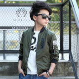 Spring Autumn Jackets for Boy Co Bomber Jacket Army Green Boy's Windbreaker Jacket Kids Baseball Long-sleeve Solid Jacket