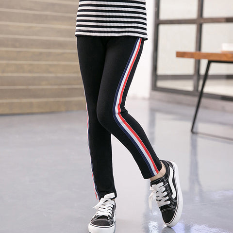 Spring Autumn Kids Girls Leggings Side Striped Elasticity Children Pants Cotton Skinny Trousers for Girls Scho Sport Leggings