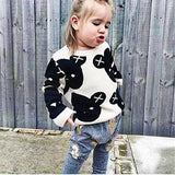 Spring Autumn white and black be jacquard dobby knitwe baby girls boys sweater kid tops children pullover 80-120cm