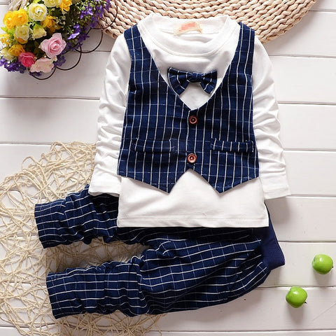 Spring Boy baby brand design gentleman clothes long-sleeved suit costume for baby's boys clothing outfit casual grid Slim sets
