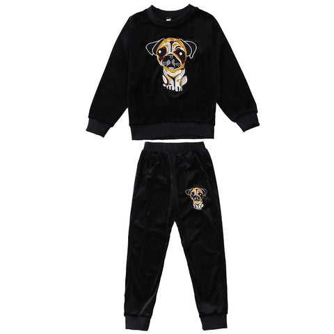 Spring Fall Boys Fashion Dog Pattern Velvet Clothing Set Girls Cute Cartoon Clothes Children's We Kids Student Sport Suit A688