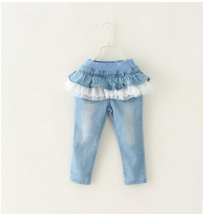 Spring Girls Denim Pants Blue Toddler Girl lace Jeans Soft Kids Children Summer Trousers Infant Kids skirt Pants