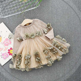 Spring Long Sleeve Mesh Patchwork Flowers Baby Wedding Party Girls Kids Princess Fairy Infants Ball Gown Dress Vestidos S6350
