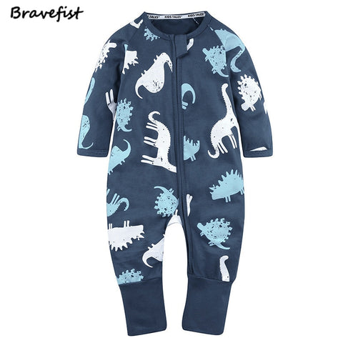 Spring Newborn Dinosaur Design Bodysuits Cotton Long Sleeve Zipper Infant Jumpsuits O Neck Children Boys Girls Clothes Outfits