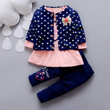 Spring and Autumn Season Girls We Suits Long Sleeved Shirts and Trousers Three Pieces of Baby Clothes Children's Casual Wear.