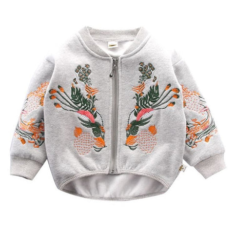 Spring autumn embroidery co kids embroidery jacket children boys girls flower baseball jacket green grey pink color