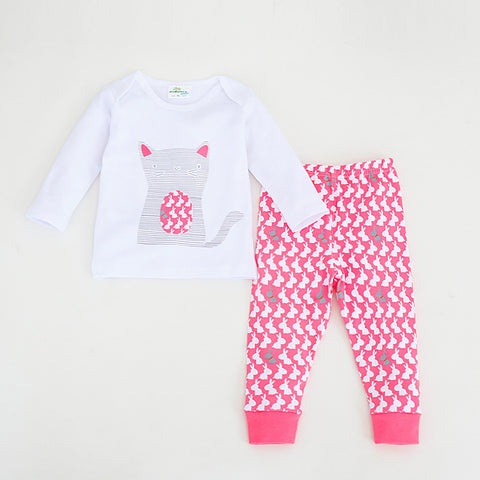 Spring baby pajamas set homewear baby romper infant costume Elephant Cat T-shirt + pants toddler boys clothes designer clothes