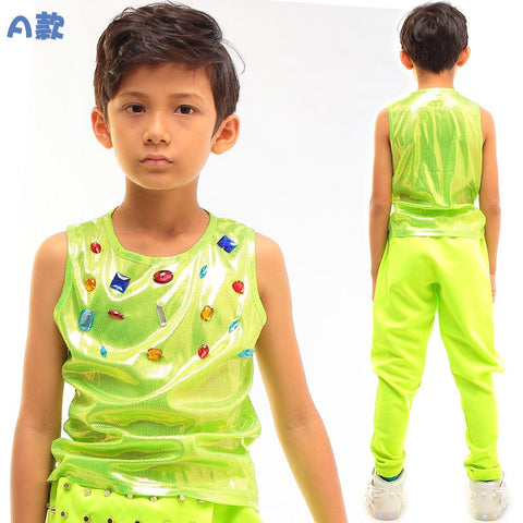 Spring summer Kids Neon Green Top for Children Boys Girls Unisex performance clothing Unisex bead thin Hip Hop Dance Vest