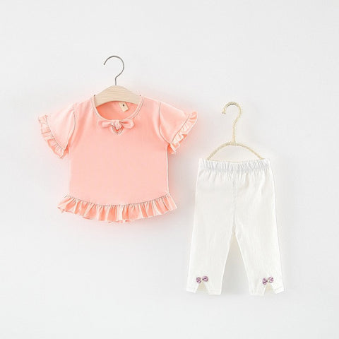 Spring summer new baby girls clothes set solid Pleated T shirts +white bowknot leggings 2pcs suits kids children infant sets