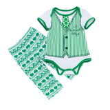 St Patrick's Day Gentleman Boys Baby Set Green Baby Bodysuit+Pant 2pcs Sets NB-24M Boys Girls Festival Suits Roupas Infantil