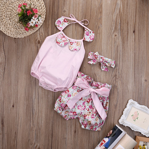 Summer 3Pcs New Lovely Baby Girl Floral Print Bodysuit Halter Jumpsuit Bowknot Short Headband Cute Baby Girl Clothes Outfits Set