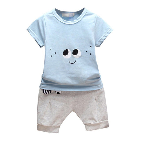 Summer Baby Boy Girl Clothing Set Cotton T-shirt + Ears Design Shorts Pants Toddler Printing Clothes Sets