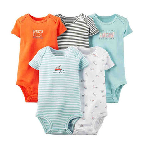 Summer Baby Boys Girls Short Sleeve 5 pcs Bodysuit Pack Children Kids Clothing Set Newborn Bodysuits 6 Months to 24 Months Bebes