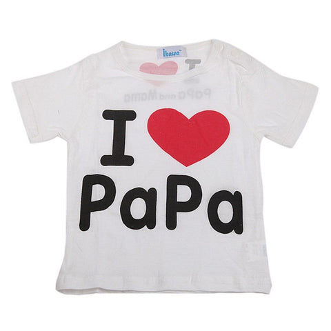 Summer Baby Boys Girls T-Shirts Kids Short Sleeve I Love Mama & Papa T Shirt Tops Cotton Tees G16