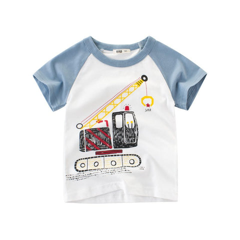 Summer Baby Boys T Shirt Striped Crane C Print Cotton Tops Tees T Shirt For Boys Kids Children Outwe Clothes Tops 2-8 Year