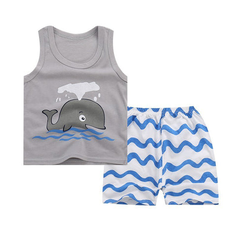 Summer Baby Clothing Set Cute Vest Suit Boys And Girls Sleeveless Vest + Shorts Suit Cartoon Cotton 2pcs Outfits
