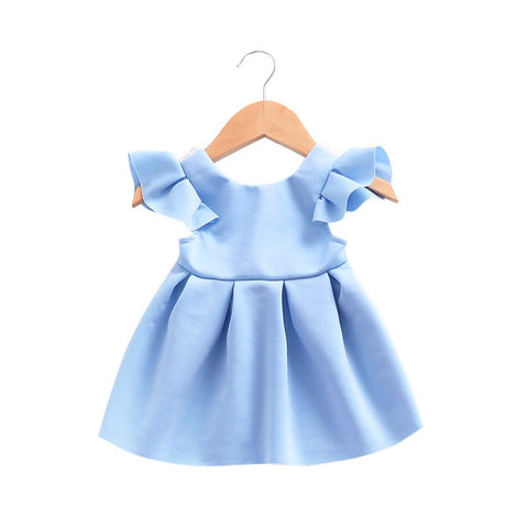 Summer Baby Girl Small Flying Sleeves Lace Bow Backless Princess Dress Newborn Clothes Children Simple Cotton 1st Birthday