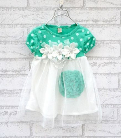 Summer Baby Girls Dress Kids Short Sleeve Dot Floral Print Crew Neck Tulle Lace Dress