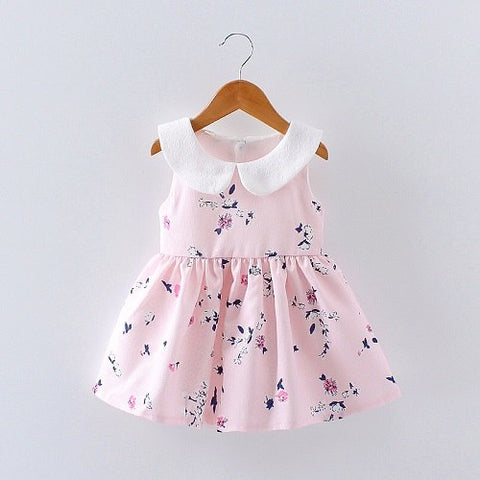 Summer Baby Girls Foral Print Peter pan Collar Princess Party Sleeveless Sundress Infant Dress vestido infantil