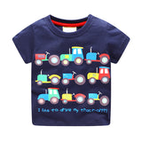 Summer Boys Cartoon T-shirt C Ship Train Cotton T Shirt Boy Kids Tops Children Clothing Kindergarten Clothes 1-6T
