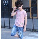 Summer Cotton Baby Boys Sets Children Clothing Sets Kids letter Printing T-shirt + Denim Shorts 2 pcs For 4 6 8 10 12 14 Years