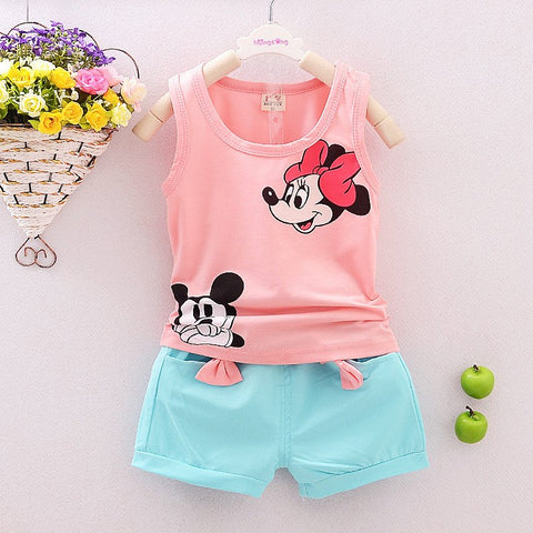 Summer Cute Cartoon 2PCS Kids Baby Girls Floral Vest Top + Shorts Pants Set Clothes Outfits