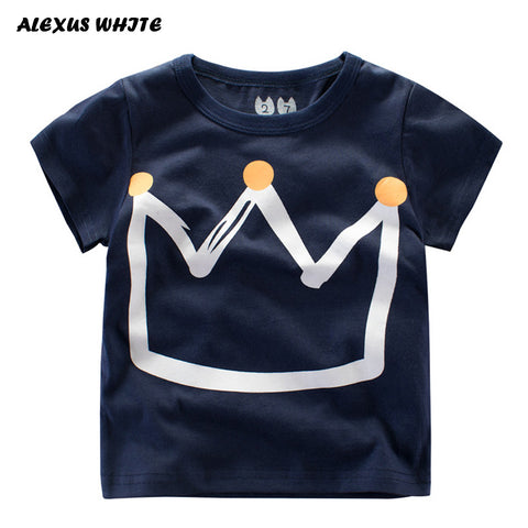 Summer Kids Boys T Shirt Crown Print Short Sleeve Baby Girls T-Shirts Cotton Children's T-Shirt O-Neck Tee Tops Boy Clothes