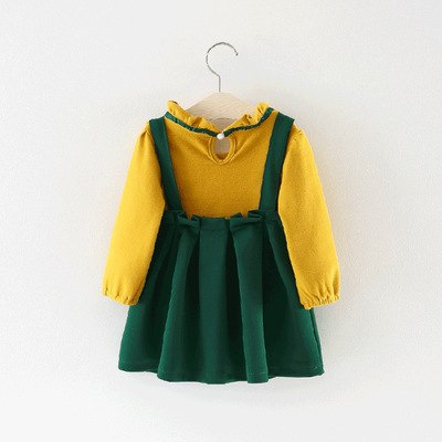Summer New Childrens Clothing Set Girl's Blouse Pure Color Shirt Suspender Skirt 2 Overalls Baby Girls Clothes Suit Set